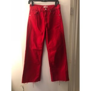 High waist denim culottes